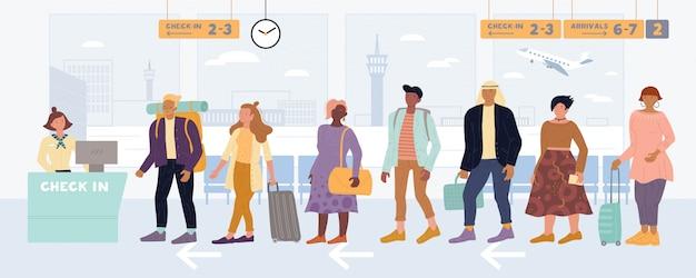 Gemischtrassige männer, frauen, die in der warteschlange stehen, um einzuchecken, geben ihr gepäck am internationalen flughafen ab.