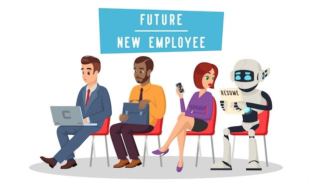 Gemischtrassige menschen und roboter sitzen in der warteschlange und warten auf ein vorstellungsgespräch. technologische revolution, arbeitslosigkeit im konzept des digitalen zeitalters. rekrutierung künstlicher intelligenz. cartoon auf weiß