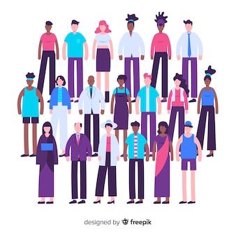Gemischtrassiges flaches design der gruppe von personen