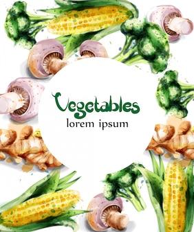 Gemüse aquarell rahmen