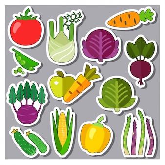 Gemüse aufkleber sammlung