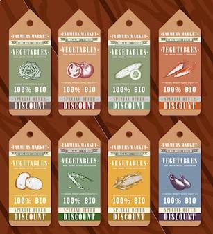 Gemüse bio-lebensmittel-tags-design-elemente