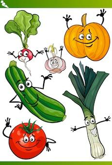 Gemüse-cartoon-illustration-set