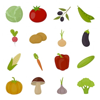 Gemüse der gesetzten ikone des lebensmittels