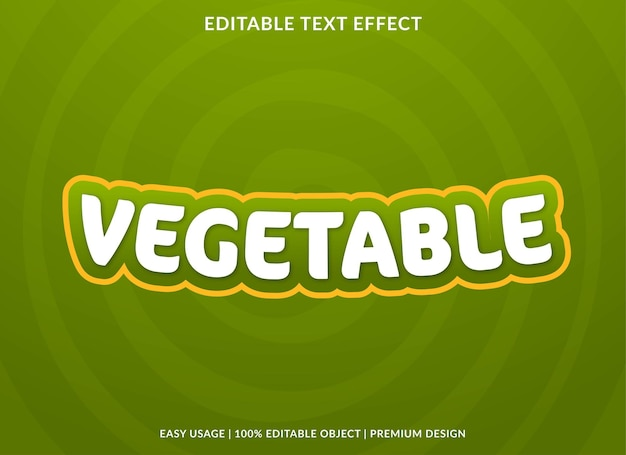 Gemüse editierbare texteffektvorlage premium-vektor