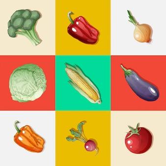 Gemüse eingestellt. vintage-stil. gesundes essen. brokkoli, paprika, auberginen, zwiebeln, rettich, sprossen, tomaten, mais. handgemalt