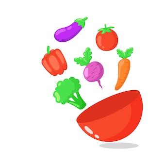 Gemüse fliegt aus schüssel hand gezeichnete illustration.