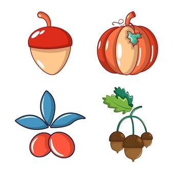 Gemüse-icon-set. karikatursatz gemüsevektorikonen eingestellt lokalisiert