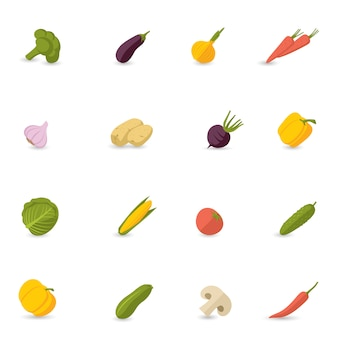 Gemüse icons flat set