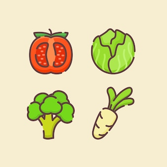 Gemüse-ikonensatz-sammlung mit tomatenkohl-brokkoli-rettich mit flachem umrissstil