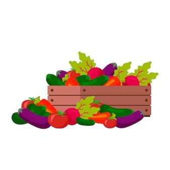Gemüse in der hölzernen kisten-farbillustration