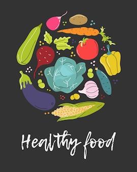 Gemüse in einem kreis auf einem dunkelgrauen hintergrund gesundes essen vektorbild in einem flachen stil