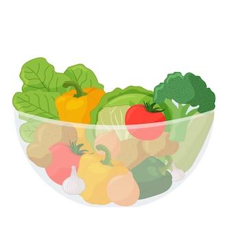 Gemüse in einer transparenten schüssel cartoon-vektor-illustration auf weißem hintergrund