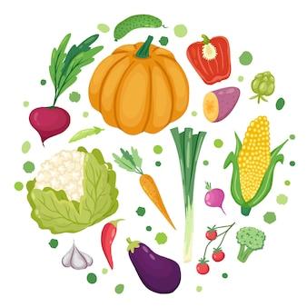 Gemüse in runder gezeichneter vektorschablone