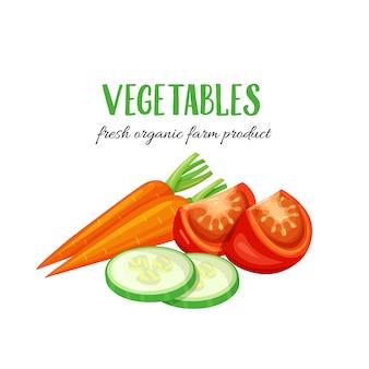 Gemüse karottenscheiben von gurke und tomate.