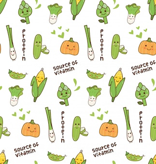 Gemüse kawaii muster