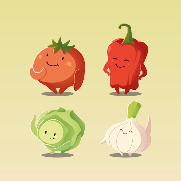 Gemüse kawaii niedliche tomatenpfeffer-zwiebel und kohlkarikaturart-vektorillustration