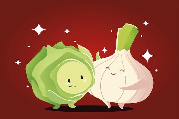 Gemüse kawaii niedlichen cartoon glückliche zwiebel und kohl vektor-illustration