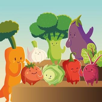 Gemüse kawaii niedlichen cartoon karotte tomate aubergine rüben zwiebel und rüben vektor-illustration