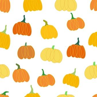Gemüse kürbis obst nahtlose muster halloween und samhain herbst und oktober erntezeit