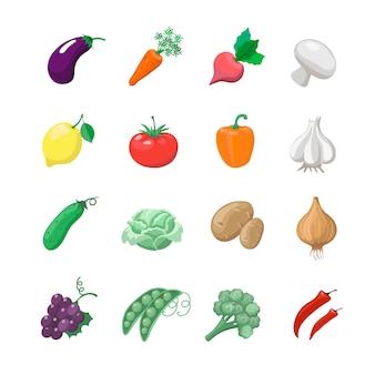 Gemüse mit kartoffeln, brokkoli, sellerie, kohl, gurke gesetzt