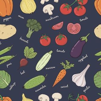 Gemüse mit namen nahtloses muster.