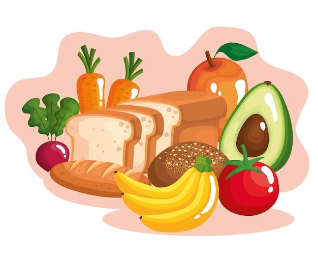 Gemüse mit obst und gesundem essen