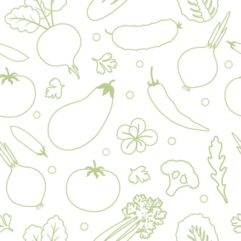Gemüse nahtlose muster. lineare grafik. gemüse-hintergrund. gesundes ernährungsmuster. vektor-illustration
