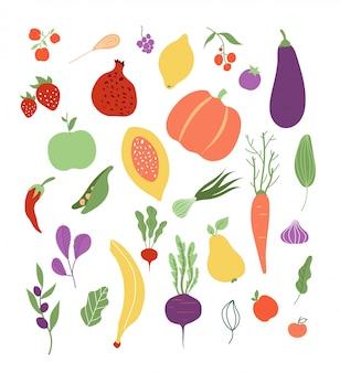 Gemüse obst. fruchtgemüse gesundes logo pflanzliche mahlzeit clipart-set