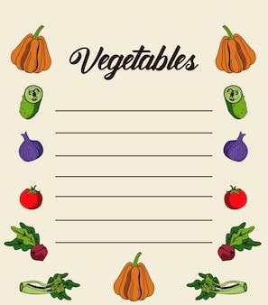 Gemüse schriftzug in papiernotiz mit nahrhaften lebensmitteln