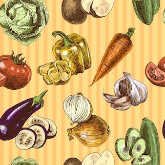 Gemüse skizzieren farbe nahtlose muster