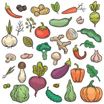 Gemüse skizzieren. handgezeichnete farbe gemüse gemüse produkt gesunde ernährung gurke, brokkoli und kohl, karotte, kartoffel doodle vektor-set. kürbis und knoblauch, champignons, zwiebeln und tomaten