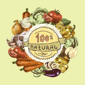 Gemüse skizzieren hintergrund