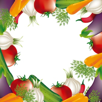 Gemüse über weißem hintergrund vektor illlustration