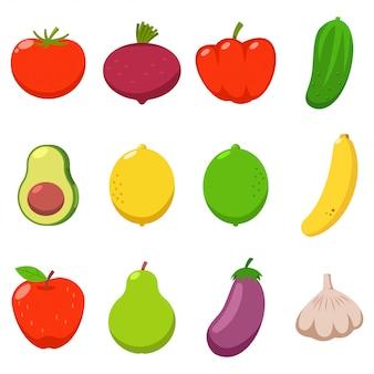 Gemüse- und fruchtvektorkarikatursatz lokalisiert.