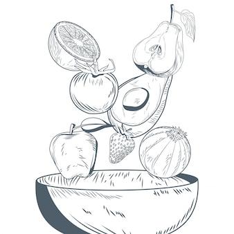 Gemüse und früchte auf schüsselhand zeichnen