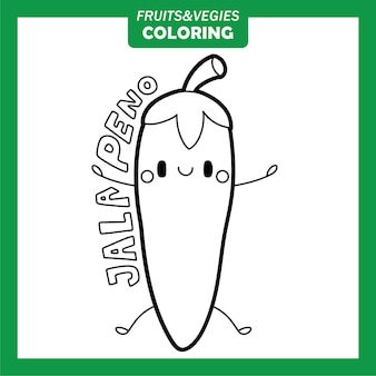 Gemüse und obst färbung zeichen jalapeno