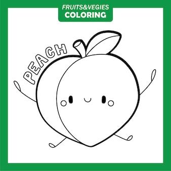 Gemüse und obst färbung zeichen pfirsich