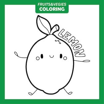 Gemüse und obst färbung zeichen zitrone