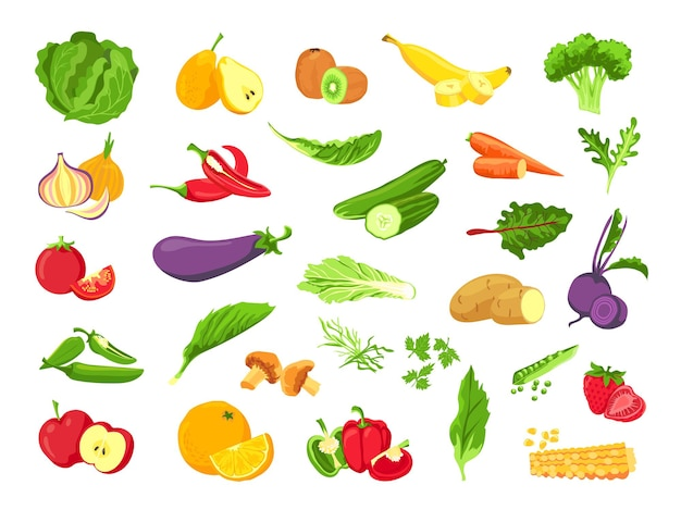 Gemüse und obst. frisches vegetarisches essen, gemüse, salat, grün, tropische früchte und beeren. gesunder veganer bauernhofvektorsatz. vegetarische landwirtschaft, tomaten- und gurken-, pfeffer- und knoblauchillustration