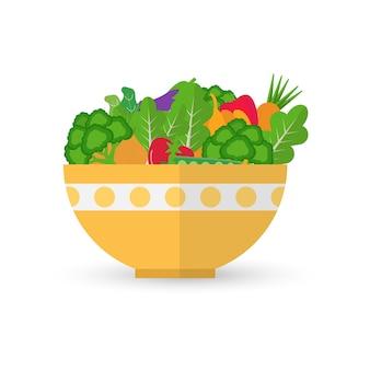 Gemüse und obst in gelber schüssel. salatgesundheitsnahrungsmittelillustration.