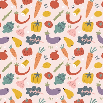 Gemüse- und obstmuster, nahtloses muster