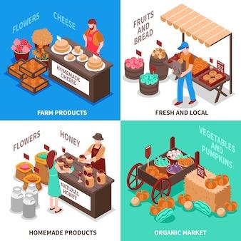 Gemüsehändler-markt-kompositionssatz