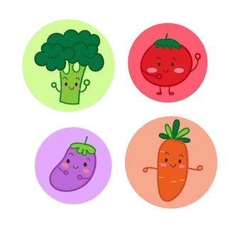 Gemüsekarikatur gemüse stellte nette karikaturillustration ein