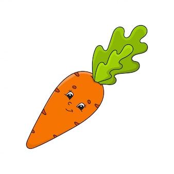 Gemüsekarotte. netter charakter. cartoon-stil. auf weißem hintergrund isoliert.