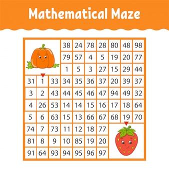 Gemüsekürbis, erdbeere. mathematisches quadratisches labyrinth. spiel für kinder. zahlenlabyrinth.