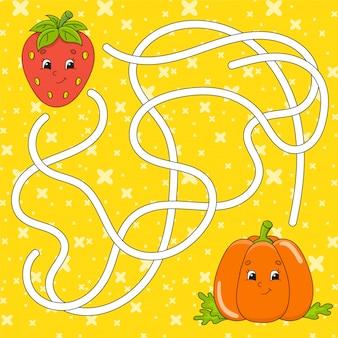 Gemüsekürbis, erdbeere. matze. spiel für kinder. labyrinth-rätsel.
