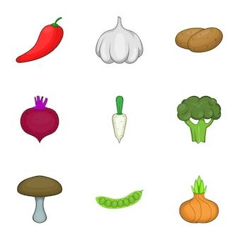 Gemüsekultur-set, cartoon-stil