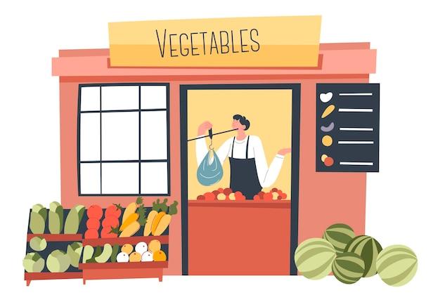 Gemüseladenmarkt oder laden mit frischem gemüse