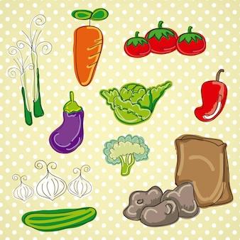 Gemüselebensmittel der bunten und netten vektorikonen lokalisiert